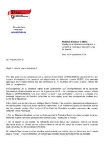 Lettre ouverte aux maires et conseillers municipaux mosellans page 1